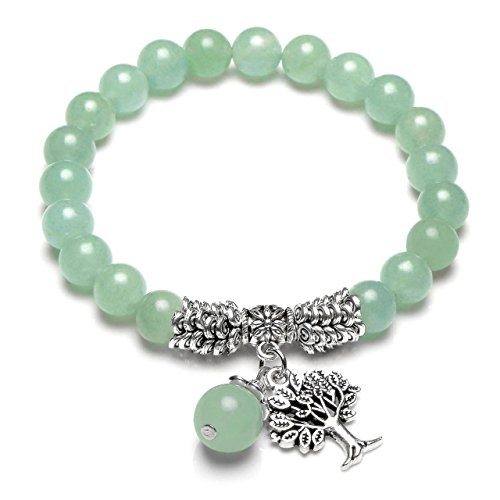 (Top Plaza Stretch Green Aventurine Tree of Life Lucky Stone Bracelet Reiki Healing Crystal Gemstone Dangle Charms Pendant Birthstone Bracelet(6.2