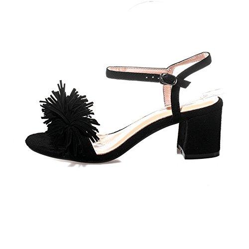 Mini Non ASL05046 Size Womens Marking Fringed Urethane Black Sandals BalaMasa wq6px1AII