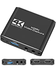 VMKLY Capture Card, HDMI Audio Video Capture Card, 1080P 60FPS Video Recorder Capture Device Converter with Mic Input & Audio Output and 4K HD Loop-Out Work with Most Gaming Consoles/DSLR/OBS