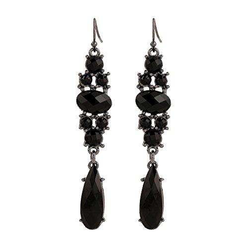 Jet Dangle (D EXCEED Long Jet Black Teardrop Bead Crystal Claw Dangle Drop Earrings for Women)