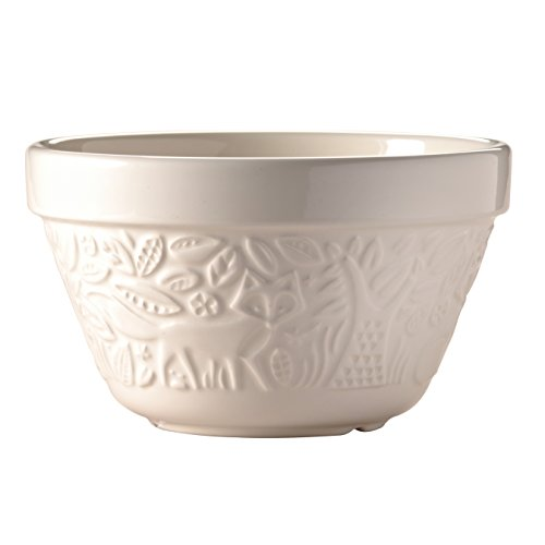 Mason Cash In the Forest Steam Bowl, Durable Stoneware Pudding Basin with Intricate Embossed Fox Design, 30-Fluid Ounces, 6-1/4 Diameter, Dishwasher and Oven Safe, Cream