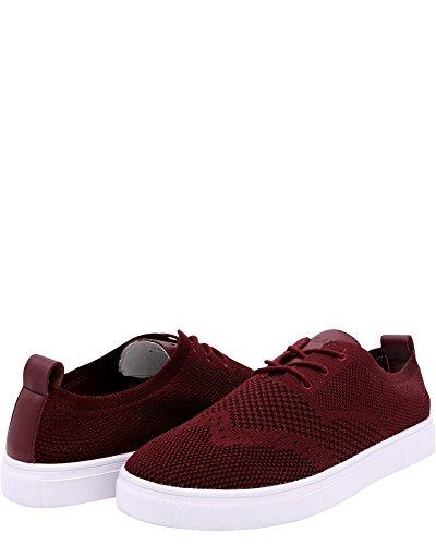 Vlado Footwear Heren Venetië Wingtip Gebreide Textiel Witte Lage Top Sneaker Bordeauxrood