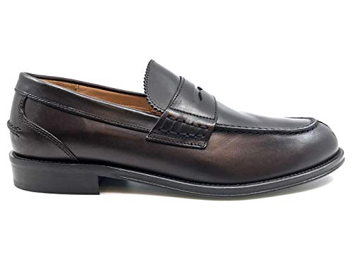 20279 Uomo Mocassino Brown Pelle Dark Marrone in CUOIERIA ANTICA qaz7z