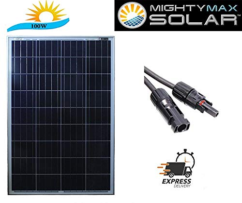 (Mighty Max Battery 100 watt Off Grid Solar Power System - 100w 12v -18v high Efficiency polycrystalline Solar Panel Module Battery Charger for Marine and RV Solar Battery Brand Product)