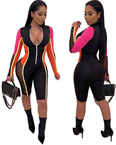 Ekaliy Women Sexy Bodycon Short Jumpsuits - Mesh Rompers Long Sleeve Club Outfits Front Zip Orange S (Women Club Jumpsuits)