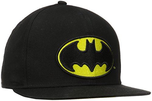 DC Comics Men's Batman Flat Brim Snap Back Hat, Black, One Size