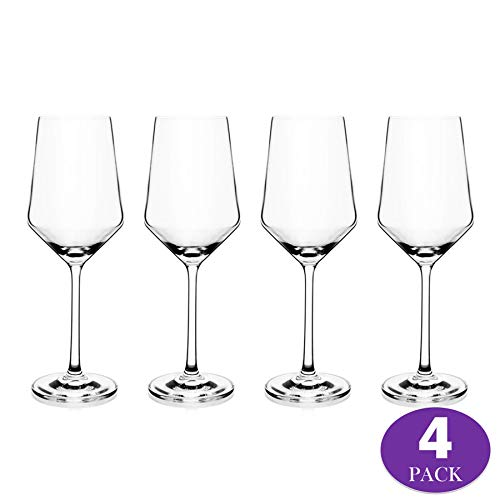 Element Drinkware Crystal Wine Glass | Classic Design Perfect for Cabernet Red Wines & White Wines at Your Next Elegant Dinner Party or Event - 4 Pack