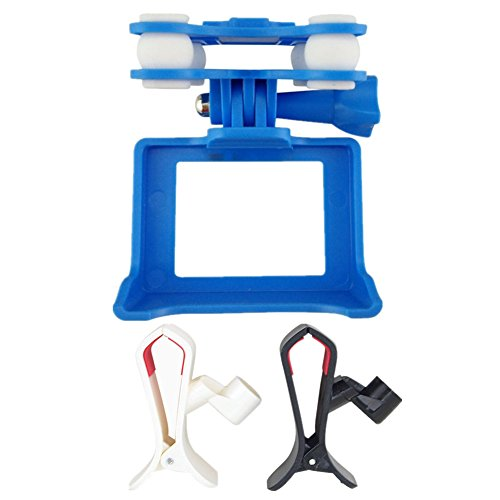 Camera Holder Anti-shock Gimbal Mount Adapter Spare Parts for Syma X8C X8G X8W X8HG X8HW Rc Quadcopter MJX X102H SJ GOPRO Wifi HD Camera Protect Frame Blue and Mobile Phone Holder Clip White Black