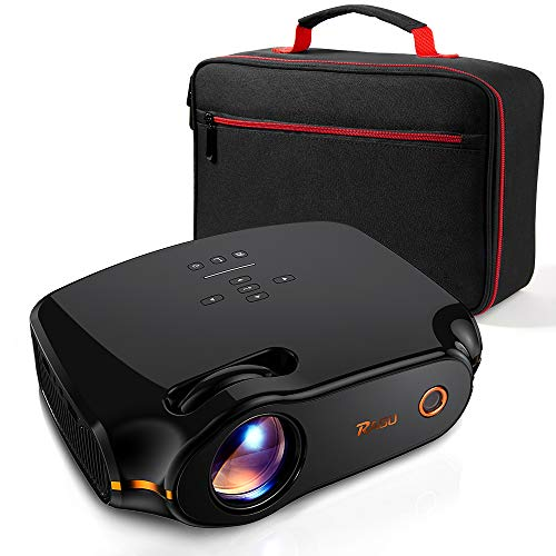 RAGU Z498 Mini Projector, 2019 Upgraded Full HD 1080P 180″ Display Supported, 50,000 Hrs Home Movie Projector for PC/MAC/DVD/TV/Xbox/Movies/Games/Smartphone with HDMI/VGA/USB/AV/SD (Black)
