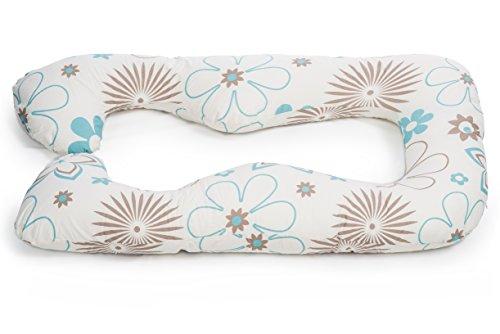 Schwangerschaftskissen, Seitenschläferkissen mit Öko-Tex Standard 100 - ergonomisch geformt - stützt Rücken und Bauch (Blumen blau/beige)