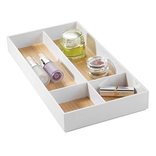 mDesign plateau de rangement – organiseur de produits de bain, avec 4 compartiments – pour stockage élégant de produits cosmétiques, parfum & bijoux dans la salle de bain, blanc