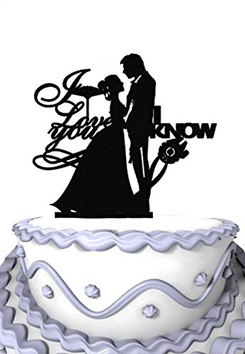 Meijiafei Wedding Cake Topper -I Love You -I Know - Bride and Groom Silhouette for Ruby Wedding Decoration -