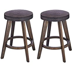Farmhouse Barstools Set of 2 Barstools Counter Height, 18 Inch Wood Walnut Brown Color with Footrest, Rustic Farmhouse Style Tree Slice… farmhouse barstools
