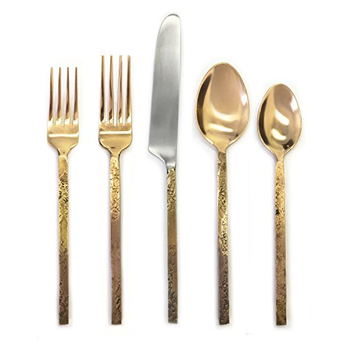 41lkGr3lFpL - Cambridge Silversmiths Indira Mala 18/8 20 Piece Flatware Set, Matte Brass