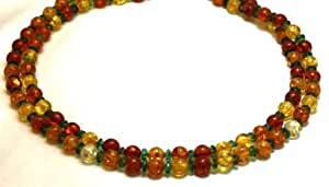 "Amber Necklace 2 Strands Amber with Peridot Beads Beaded Necklace 17"" Long"