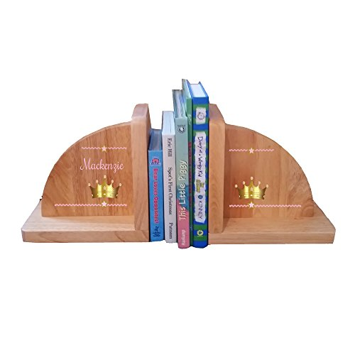 Personalized Pink Crown Natural Childrens Wooden Bookends by MyBambino (Image #1)