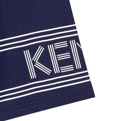 Kenzo Navy Blue Kid Logo Fleece Shorts