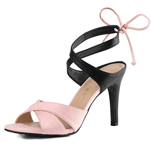 Allegra K Women's Crisscross Strap Ankle Tie Stiletto Heel Light Pink Sandals - 6.5 M US (Sexy Pink Lace Stiletto Heel)