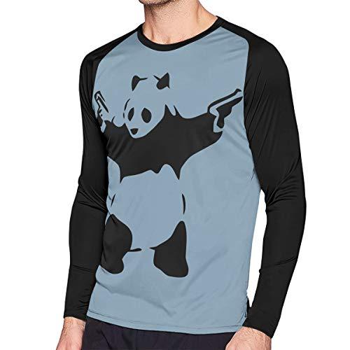 Crazy Popo Men's Casual Banksy Panda Long Reglan T-Shirt]()
