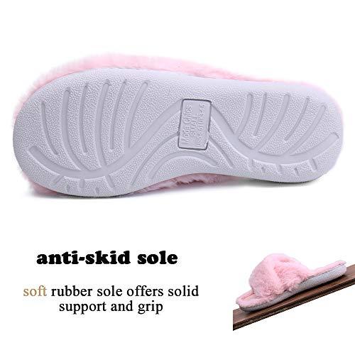 Women's Flops Non Faux Slide Fur Soft Mule Chics Moda Cozy Pink Plush Comfort Slip Foam Flip Slippers Memory House 5TzxwO