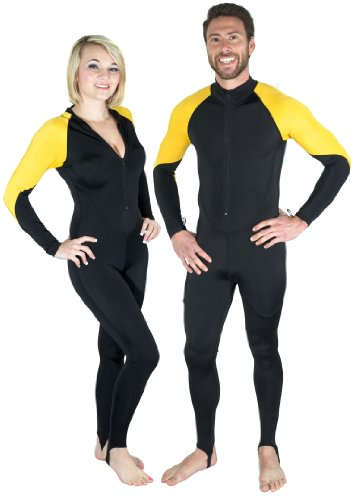Storm Yellow and Black Lycra Dive Skin - Sm for Scuba Diving and Water Sports