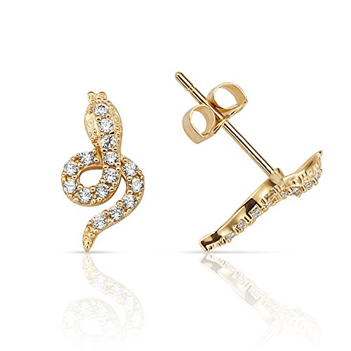 CZ Pave Snake Stud Earrings in 14K Yellow Gold for Women and (14k Snake Earrings)