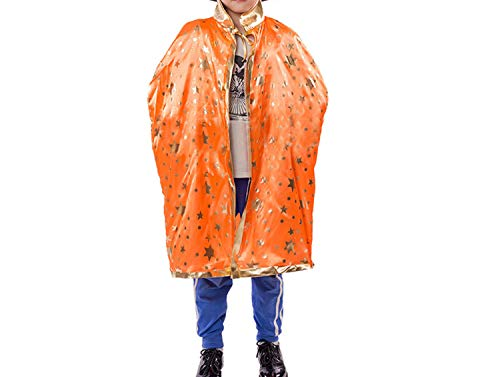 Halloween Costume Set Wizard Witch Cloak Cape Robe and Hat for Boy,Orange,Wizard Witch ()