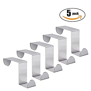 Over The Door Hook - Free Moving Adjustable Storage Organizer Rack for Hand Towel,Coat,Hat,Clothes,Hanger,Kraft Paper Bags,Towel Coat Rack Hats - Silver (5 Pack)