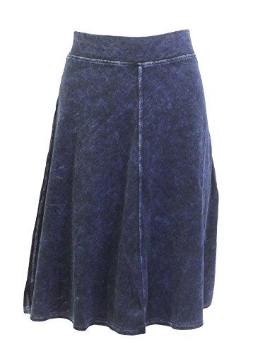 (Flat Waist Knee Skirt B-145 Dark Denim S)