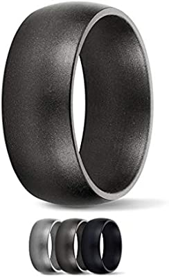 SafeRingz Metallic Silicone Wedding Ring Men or Women Size 4-18 Made in The USA