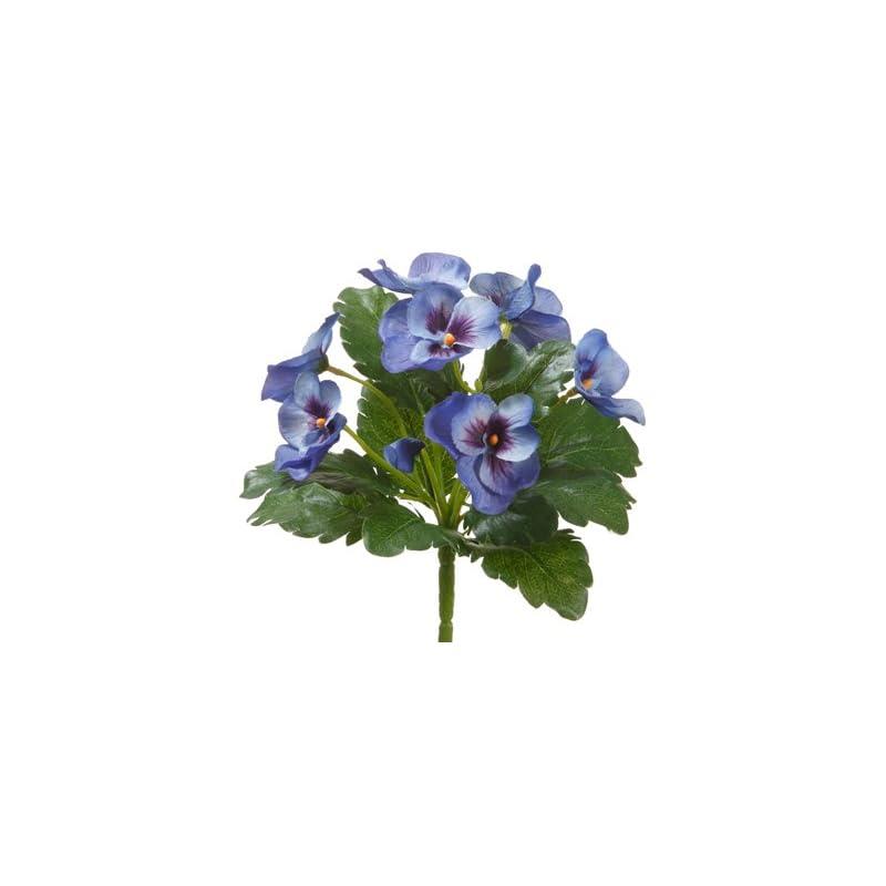 "silk flower arrangements 8"" pansy bush blue (pack of 12)"