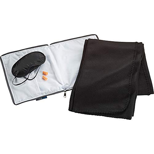 Lewis Case - Lewis N. Clark Ultimate Comfort Set Portable Travel Kit for Airplane, Includes Inflatable Pillow Zippered Carrying Case, Cozy Fleece Blanket, Eye Mask for Sleeping & Foam Ear Plugs, Blue