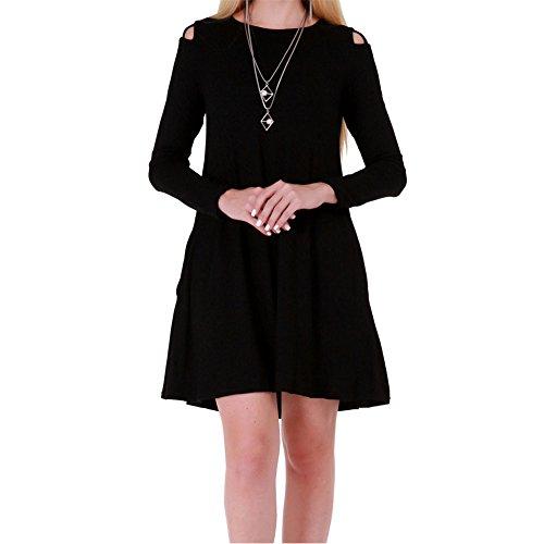 Bodycon4u Col Rond Des Femmes Découpages Sur Robe T-shirt À Manches Longues Noir Épaule