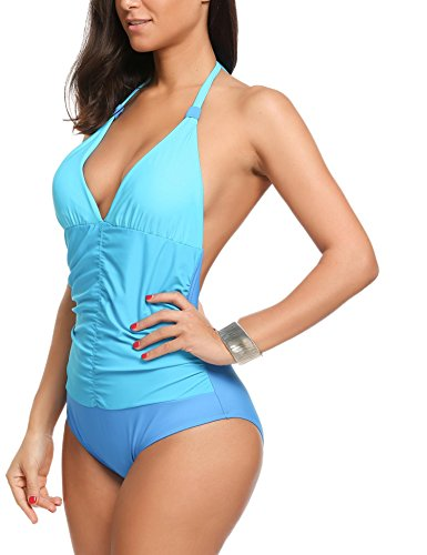 Avidlove One Piece Swimsuit V-Neck Ruched Tummy Control Bathing Suit(Blue,S)