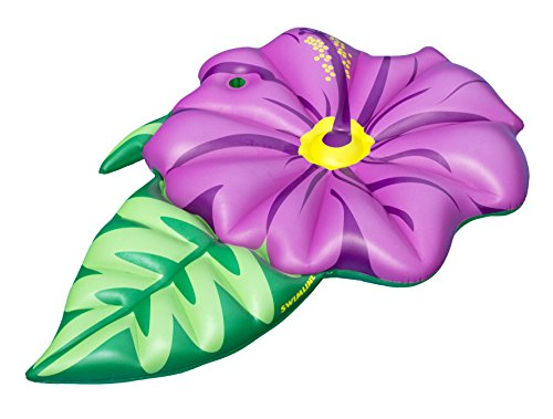 Swimline Inflatable - Swimline Hibiscus Flower Float Pool Inflatable Ride-on, Pink, Green, 70