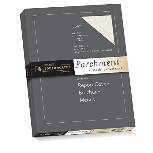 Southworth Parchment Specialty Cover Stock, Ivory, 65 Pounds, 100 Count (Z980CK) (Southworth Parchment Paper)