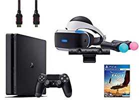 PlayStation VR Start Bundle 5 Items:VR Headset,Move Controller,PlayStation Camera Motion Sensor,Sony PS4 Slim 1TB Console - Jet Black,VR Game Disc Eagle Flight