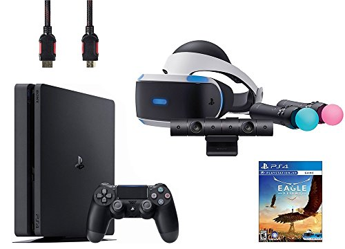 PlayStation VR Start Bundle 5 Items:VR Headset,Move Controller,PlayStation Camera Motion Sensor,Sony PS4 Slim 1TB Console - Jet Black,VR Game Disc Eagle Flight by Sony VR