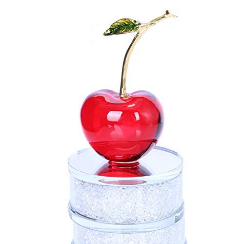 H&D Crystal Fruit Cherry Shape Figurine Ornament Home Decor (Red)