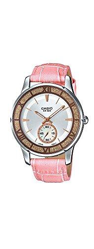 Casio LTP-E408L-4AV Women's Lamé-Sprinkled Bezel Leather Band Pink Dial Watch