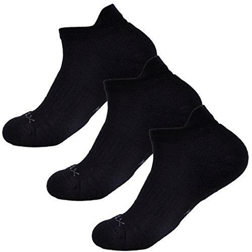 SOLAX 3 Pairs COOLMAX Athletic Low Cut Socks Women No Show Tab Sports Sock (Black)