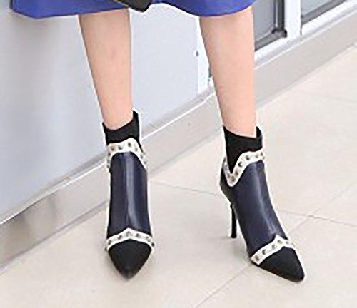 qusscf Calaier Boots 9CM Blue Zipper Women Stiletto 60nC7T5qn
