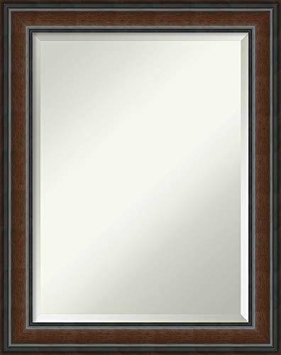 Mirror Mahogany Vanity (Amanti Art Vanity Bathroom Wall | Cyprus Walnut Frame | Solid Wood Mirror |, Glass Size 18x24,)