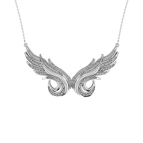 925 Sterling Silver Double Angel Feather Diamond Pendant Necklace 1 3 Carat