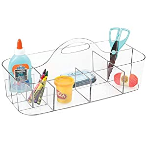 mDesign Plastic Portable Craft Storage Organizer Caddy Tote, Divided Basket Bin with Handle for Craft, Sewing, Art Supplies – Holds Paint Brushes, Colored Pencils, Stickers, Glue, Extra Large