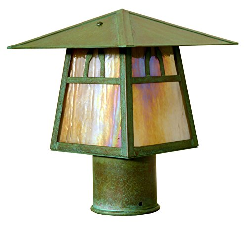 Arroyo Craftsman CP-8BGW-RC Carmel Post Mount with Bungalow Overlay and Gold/White Iridescent Glass, 8