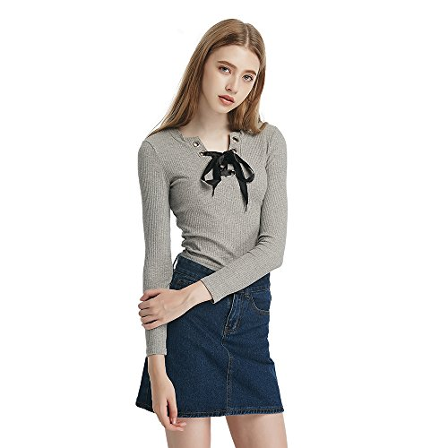Benala Women's Fashion Long-Sleeved Elegant Butterfly Pullover Sweaters Basic Sweater Pullover Grey (Synchilla Cardigan)