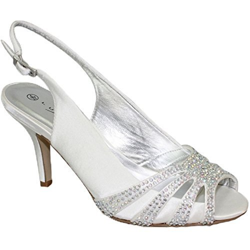 flr469 Seulement Ouvert Rembourrée Bout intérieure Boutique Bride Chaussure Blanc Semelle Talons Satin Fantasia Cosmique Strass 54Cpnqw