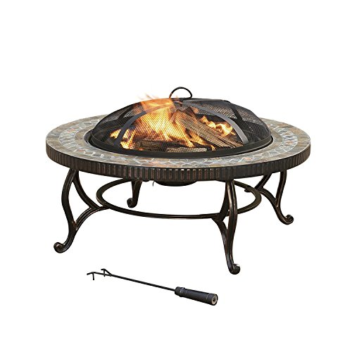 JOYPANDA 34-Inch Natural Slate Tile Top Outdoor Fire Pit with Spark Screen, Steel Wood Grate and Safety Poker (Furniture Top Slate Outdoor)