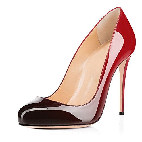 Joogo Round Toe Party Stilettos Slip On High Heels 4.7 inches Thin Heel Classics Pumps Black to Red Size 10